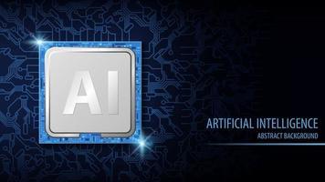 inteligência artificial ai fundo azul vetor