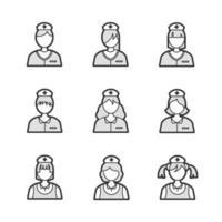 ícones de avatar de enfermeira médica vetor