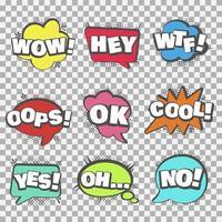 conjunto de expressões de bolhas do discurso