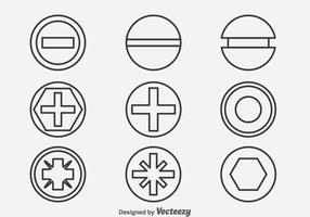 Ícones de linha de parafusos e pregos vetor