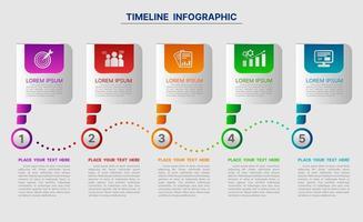 modelo de infográfico moderno colorido de 5 etapas vetor