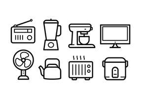 Conjunto grátis de ícones de eletrodomésticos vetor