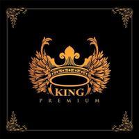 coroa de luxo do alado dourado vetor