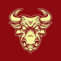 forte cabeça de touro vermelho vetor