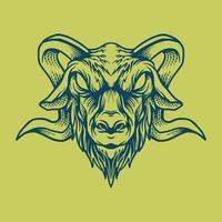 desenho de cabeça de cabra vetor