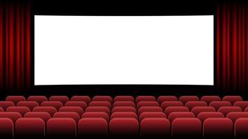 cinema cinema com tela em branco e assento vermelho vetor