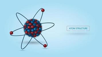 Estrutura atômica 3d, fundo químico vetor