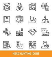 conjunto de ícones de linha de caça de cabeça