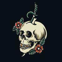 tatuagem de caveira com flores vetor
