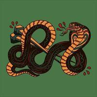 tatuagem de cobra vintage vetor