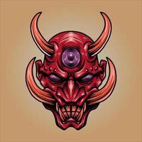 máscara de demônio vermelho vetor