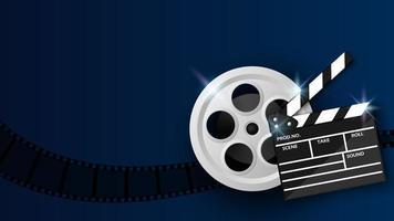 claquete e bobina de filme em azul vetor