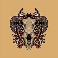 design de crânio e flores de cabra vetor