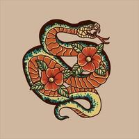 desenho tradicional de tatuagem de cobra e flores vetor
