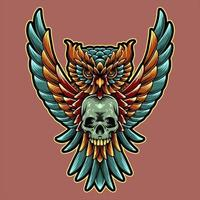 design de coruja e crânio vetor