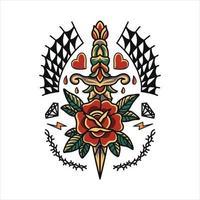 desenho tradicional de tatuagem de rosa e punhal vetor
