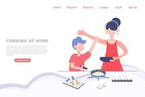garoto cozinhando com a mãe