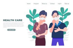 página de destino com casal mascarado doente vetor