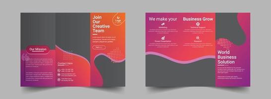 modelo de design de brochura com três dobras laranja gradiente rosa
