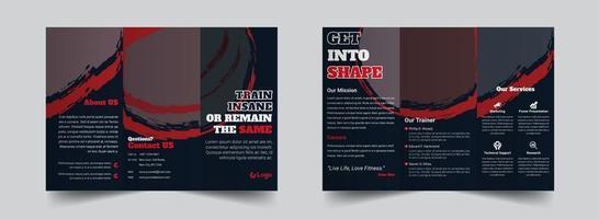 modelo de design de brochura com três dobras de ginásio fitness