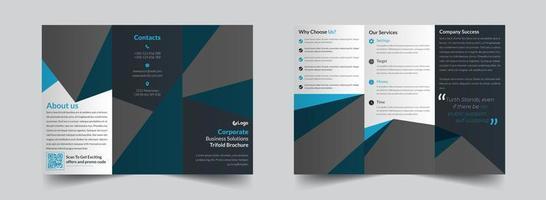 modelo de brochura com três dobras corporativa cinza e azul verde