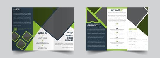 modelo de folheto corporativo com três dobras verde e cinza