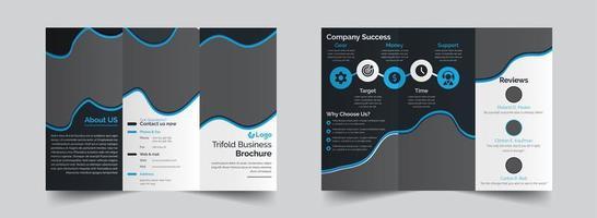 modelo de design de brochura de forma fluida com três dobras vetor