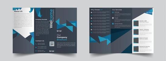 modelo de brochura com três dobras corporativa de formas triangulares azuis e cinza