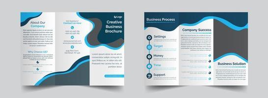 modelo de folheto dobrável em três partes criativo azul e cinza vetor