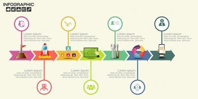 infográfico de linha do tempo seta colorida com ícones vetor