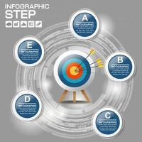 Infográfico moderno círculo azul com alvo vetor