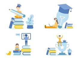 alunos fazendo lição de casa com cursos on-line a lápis e laptop vetor