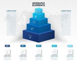 modelo de infográficos de pirâmide de cubo empilhado colorido vetor