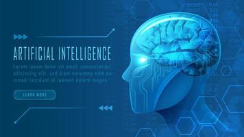 cabeça de robô ai futurista no conceito de vista lateral vetor