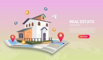 modelo de página de destino de investimento imobiliário vetor