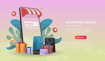 conceito móvel de compras e entrega