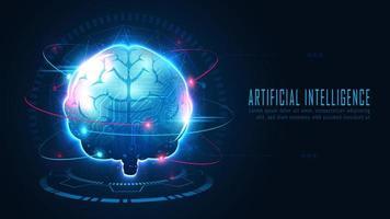 círculo de cérebro ai futurista com conceito de dados