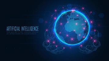 globo futurista com rede de conexão