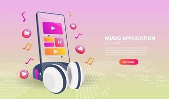 aplicativo de música no telefone em vista em perspectiva