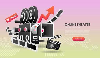 conceito de teatro online vetor