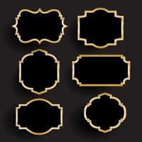 molduras decorativas em ouro e preto vetor