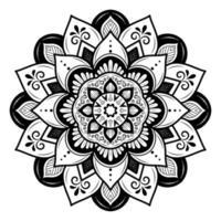 mandala de flor arredondada em preto e branco vetor