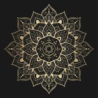 design de mandala dourada flor pontiaguda vetor