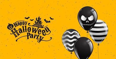 banner de grunge de festa de halloween com balões brilhantes vetor