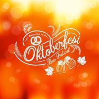 emblema de caligrafia oktoberfest em bokeh gradiente ornage
