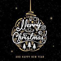 caligrafia de ornamento de feliz Natal e estrelas poster