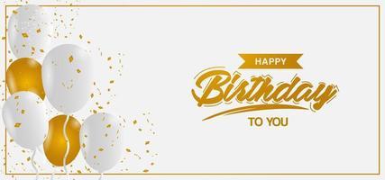 design minimalista de aniversário de ouro e branco vetor