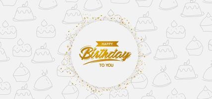 distintivo de feliz aniversário com padrão de bolo vetor