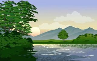 rio na floresta vetor
