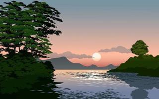 paisagem por do sol do rio vetor